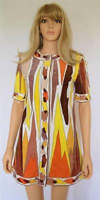 Vtg 60's EMILIO PUCCI MoD Op ArT HiPPiE TeRRy CLoTh Beach COUTURE Cover Up Dress