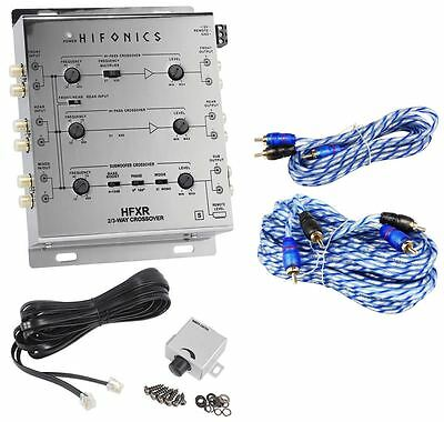 Hifonics HFXR 3-Way Active Crossover With Remote + 17' + 6' RCA Cables