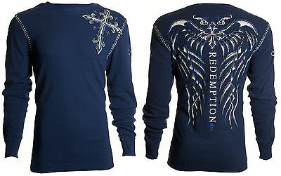 Archaic AFFLICTION Men THERMAL Whipstitch Shirt SPINE WINGS Tattoo Biker UFC $58