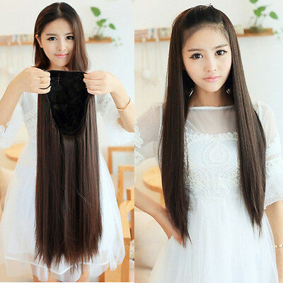 New Fashion Women's 3/4 Half Wig Long Straight Black/Brown Hair Wigs Clips in
