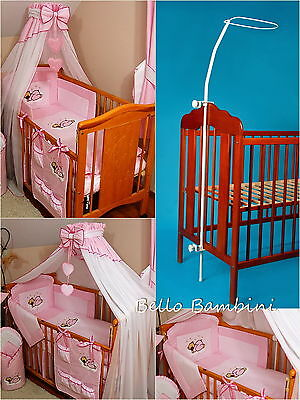 8 pcs BABY BEDDING SET /BUMPER/CANOPY /HOLDER to fit COT or COT BED PINK