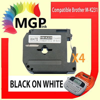 4x Compatible P-Touch MK Tape for Brother M-K231 Black on White PT-70 PT-80