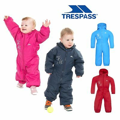Trespass Dripdrop Babies Waterproof Padded Rainsuit Hooded Boys Girls Snowsuit
