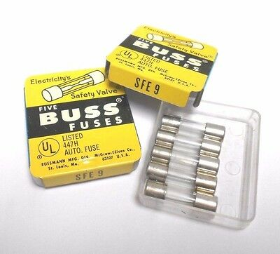 NEW Lot of 8 Cooper BUSSMANN Buss SFE-9 32V FAST ACTING Auto GLASS FUSE NOS