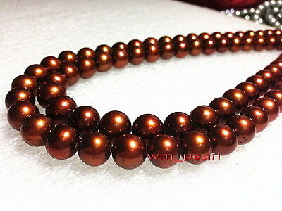 """LONG AAAAA 35""""10-11mm REAL natural south sea chocolate pearl necklace 14K GOLD"""