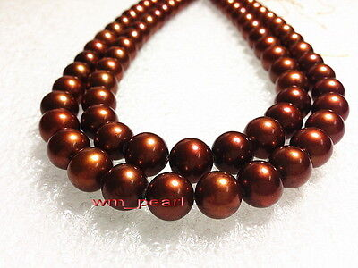 """LONG AAAAA 35""""11-12mm REAL natural south sea chocolate pearl necklace 14K GOLD"""