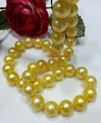 """long AAAAA 35""""11-12mm REAL NATURAL round south sea GOLDEN pearl necklace 14K"""