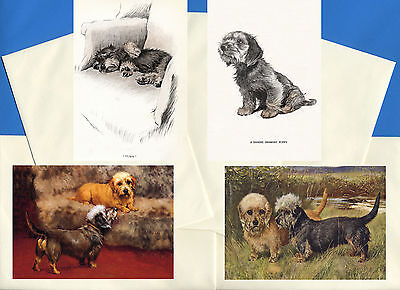 Dandie Dinmont Terrier Pack Of 4 Vintage Style Dog Print Greetings Note Cards #1
