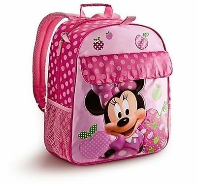 Disney Minnie Mouse Pink Backpack w/Polka Dots & fruits designs.  15 X 12