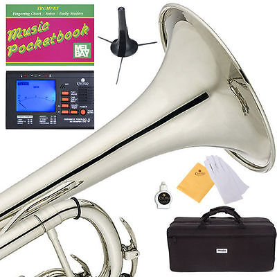 MENDINI Bb TRUMPET ~NICKEL PLATED FOR CONCERT BAND +TUNER+STAND+CARE KIT+CASE