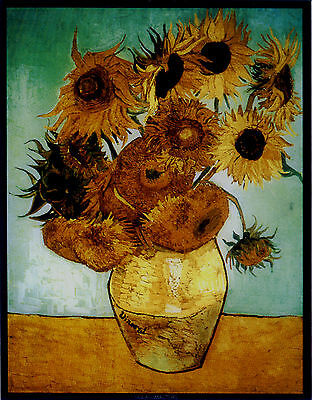 """New Glassmasters Vincent Van Gogh's  """"SUNFLOWERS"""" Stained Glass Panel New In Box"""
