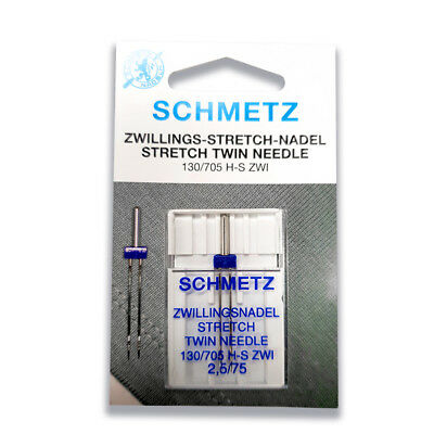 Schmetz Twin Stretch Needle 2.5mm Size 75/11 - Great for Stretch, Synthetics
