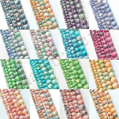 Natural Colorful Round Rain Stone Charm Spacer Loose Beads Strand 4 6 8 10 12 mm