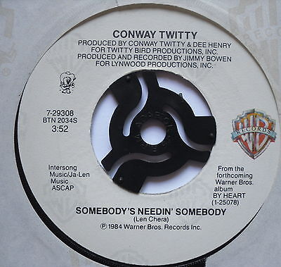"CONWAY TWITTY - Somebody's Needin' Somebody - Ex Con 7"" Single Warner Brothers"