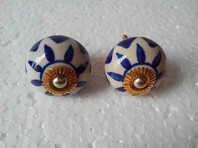 White with dark blue 2 Cabinet Ceramic Knobs Drawer/Christmas/Collectible/gift