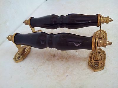 vintage hand made Brass & Ceramic Furniture Door Handle ,black color.,FNE EHS