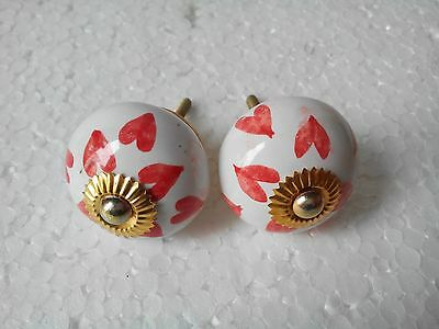 vintage lot of 2 white with red design Ceramic Knobs Drawer Pulls