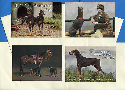 Doberman Pinscher Pack Of 4 Vintage Style Dog Print Greetings Note Cards #2