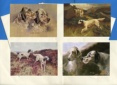 English Setter Pack Of 4 Vintage Style Dog Print Greetings Note Cards #2