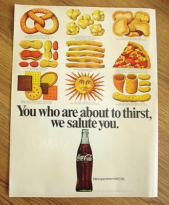 1969 Coke Coca-Cola Ad  You Who are About to Thirst We Salute You Snacks Pizza