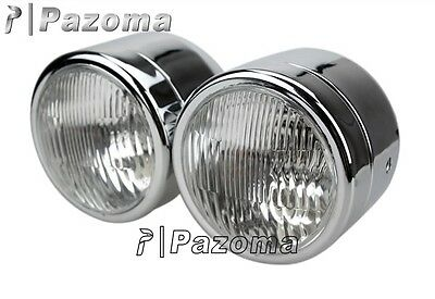 """Twin Round Chrome Dominator Motorcycle 4"""" Headlight Kit Streetfighter Cafe Racer"""