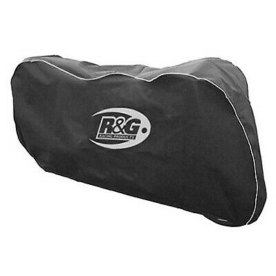 R&G Racing Motorcycle Breathable Dust Cover - Black With Silver Piping And Print