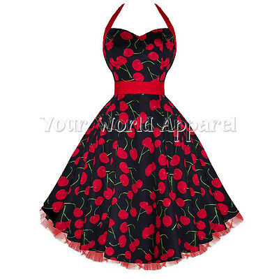 1a377cd25a H R BLACK RED CHERRIES HALTER DRESS PINUP 1950s ROCKABILLY RETRO VINTAGE  HR4004B
