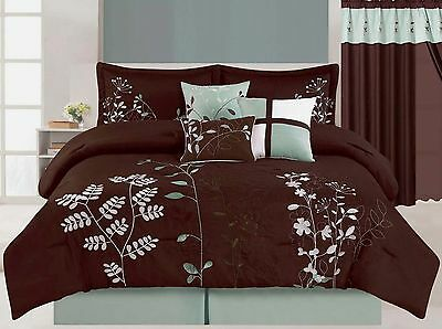 7 Pcs Floral Embroidered Microfiber Comforter Set Brown Twin - Cal King Sizes
