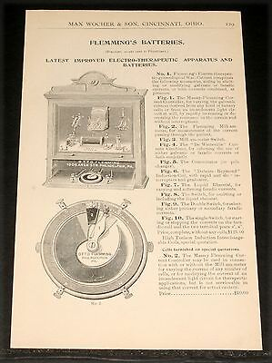 1894 Wocher Surgical Catalog Page 129, Flemmings Electro-Therapeutic Apparatus!