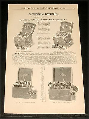 1894 Wocher Surgical Catalog Page 133, Flemming's Batteries And Electrodes!