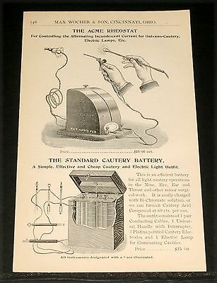 1894 Wocher Surgical Catalog Page 148, Standard Cautery Battery & Acme Rheostat!