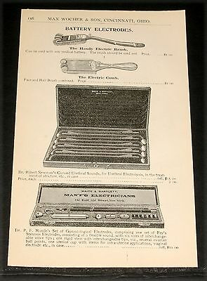 1894 Wocher Surgical Catalog Page 156, Gynaecological Battery Electrodes, Brush!