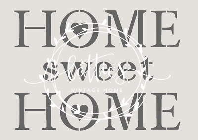❤️ STENCIL A5  ❤️HOME SWEET HOME Furniture Fabric Cards ❤️ Vintage Shabby Chic