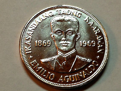 1969 Philippines One Peso Emilio Aguinaldo Gem Unc Proof Like Silver Crown Coin