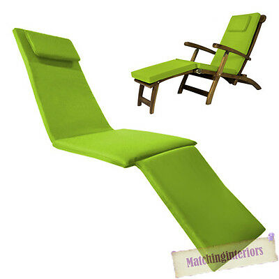 Lime Water Resistant Outdoor Garden Cushion Pad ONLY for Steamer Recliner Chair