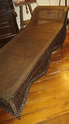 Antique Natural Wicker Fainting Cough Lounge with Cane.