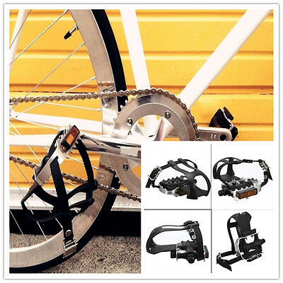 Alloy Cycling Fixie Road Mountain Bike Bicycle Pedals + Straps Black +Toe Clips