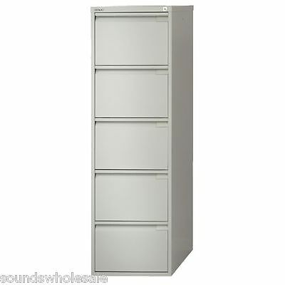 5 Drawer Flush Pro Bisley Steel Filing Cabinet / Grey / A4 /  New + Free Del