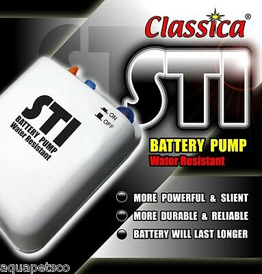 Classica Sti Battery Air Pump Airpump Aquarium Fish Tank Live Bait Oxygen Bp011