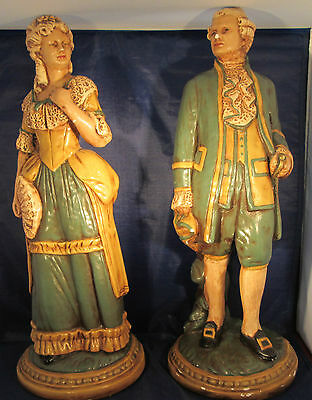 """Colonial Figurines Man & Woman Large Size 16 1/2"""" Tall Chalkware"""