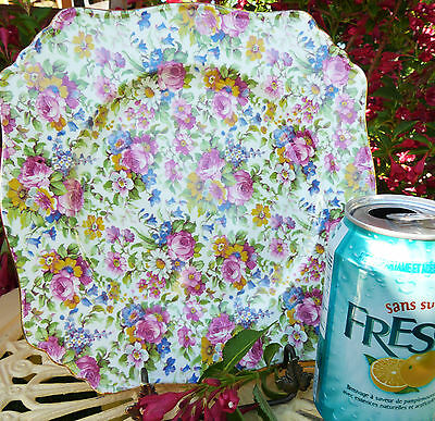 """VINTAGE CHINTZ ROYAL WINTON SUMMERTIME ASCOT 8-3/4"""" SQUARE LUNCH PLATE"""
