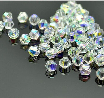 500pcs clear ab exquisite Glass Crystal 4mm #5301 Bicone Beads loose beads @