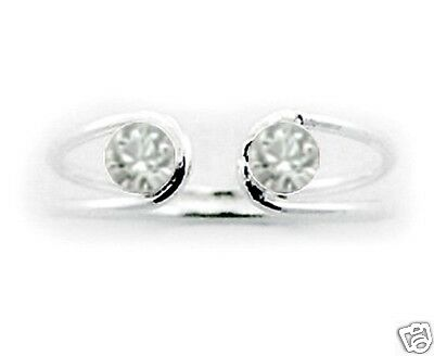 Gorgeous Open Toe Ring Swarovski Crystals Sterling Silver 925 Jewelry Gift Clear