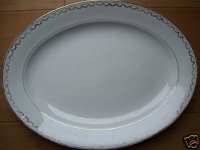 "Pope Gosser China 17"" X 13"" Extra Large Turkey  Platter Gold Trim Good Condition"