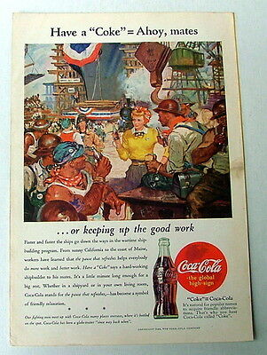 1944 COCA COLA AD AHOY MATES CONSTRUCTION WORKERS DRINKING COKE WITH WOMAN