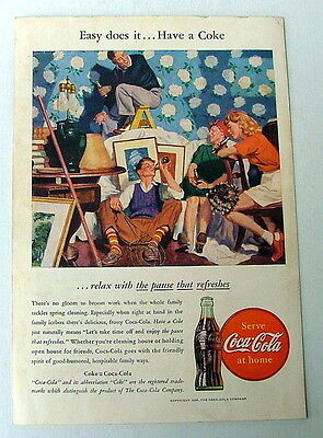 1946 COCA COLA AD FAMILY DRINKING COKE RELAXING FROM SPRING HOUSE CLEANING