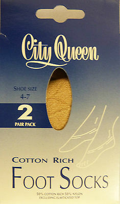 City Queen One Size Cotton Rich 2 Pair pack of Footsies Natural Shade