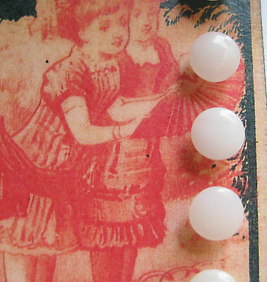 """Set of 6~ Vintage 3/8"""" White milk Glass Doll Buttons~new/old stock"""
