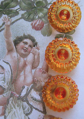 "Set of 4~Vintage Exquisite 3/4"" Orange Crystal Glass Buttons~New/old stock"