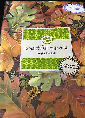 BOUNTIFUL HARVEST COLORFUL LEAVES & PINE CONES VINYL  TABLECLOTHS 52 x 90